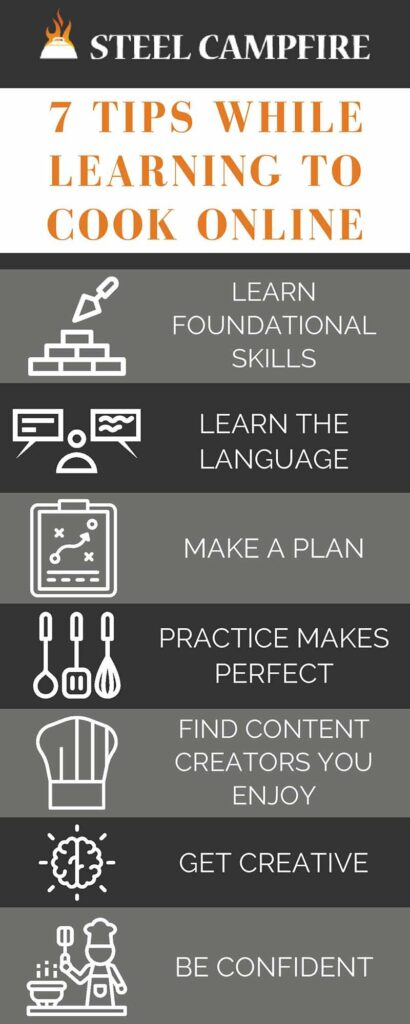 learning to cook online - 7 Tips While Learning to Cook Online infographic